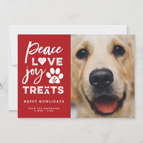Peace Love Joy Treats Dog Lover Holiday Photo Card