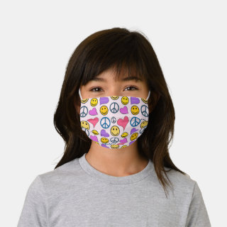 Peace Love Laugh Pattern Kids' Cloth Face Mask