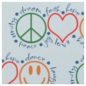 Peace Love Smile Pattern Fabric