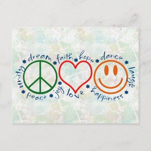 Peace Love Smile Postcard