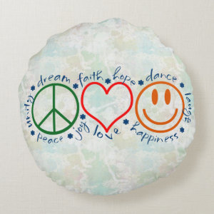 Peace Love Smile Round Pillow
