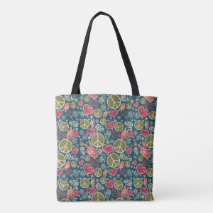 Peace Love Symbol Design Tote Bag