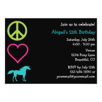 Peace Love Unicorns Girl's Birthday Invitation
