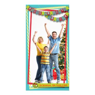 Peace on Earth Bunting Banner Card Customized Photo Card