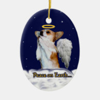 Peace on Earth Dott Angel Oval Ornament