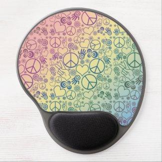 Peace Sign Symbol Rainbow Gel Mouse Pad