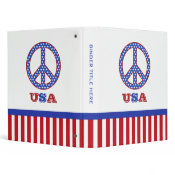 Peace Sign USA Personalized Binder