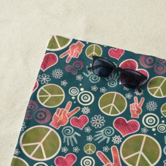 Peace Symbol Hipster Pacifism Sign Design Beach Towel