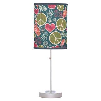 Peace Symbol Hipster Pacifism Sign Design Desk Lamp