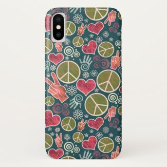 Peace Symbol Hipster Pacifism Sign Design iPhone X Case