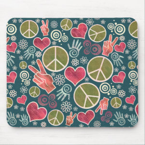 Peace Symbol Hipster Pacifism Sign Design Mouse Pad