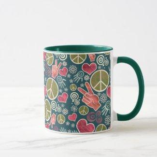 Peace Symbol Hipster Pacifism Sign Design Mug