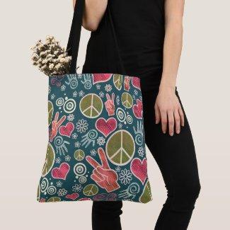 Peace Symbol Hipster Pacifism Sign Design Tote Bag