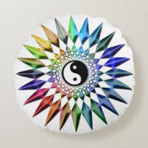 Peaceful Yin Yang Zen Yoga Colorful Meditation Tao Round Pillow