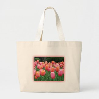Peach and Pink Tulips Canvas Bags
