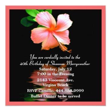 Peach Hibiscus Birthday Party Invitation