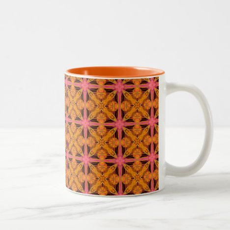 Peach Lattice Abstract Pink Snowflake Star Two-Tone Coffee Mug