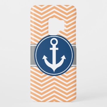 Peach Nautical Anchor Chevron Case-Mate Samsung Galaxy S9 Case