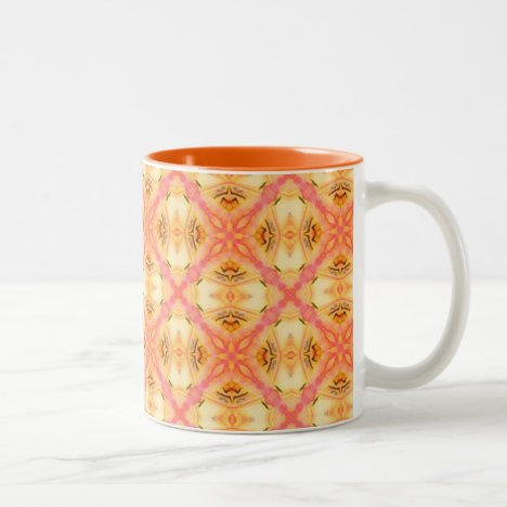 Peach Pineapple Abstract Circles Arches Two-Tone Coffee Mug