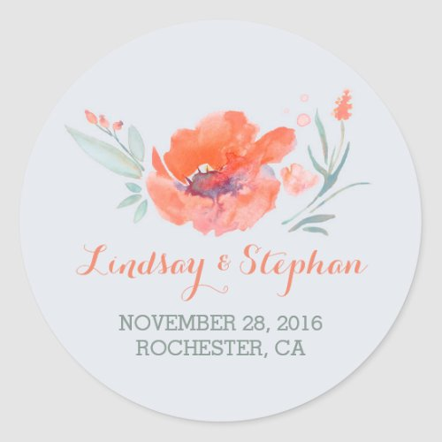 Peach Watercolor Flowers Classic Round Sticker