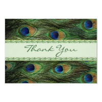 Peacock feathers Wedding Thank you Card