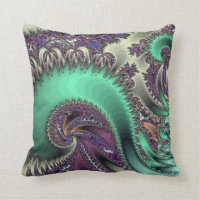 Peacock Purple Design Throw Pillow