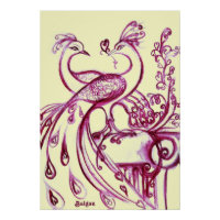 PEACOCKS IN LOVE, Red and Cream Poster