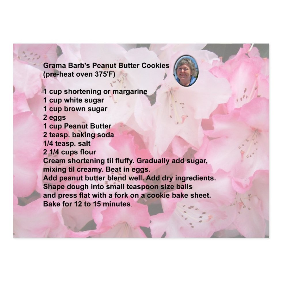 Peanut Butter Cookie Recipe Postcard