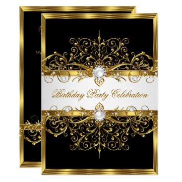 Pearls Black White Gold Elegant Birthday Party Invitation