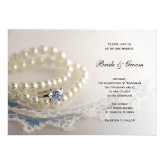 Pearls, Ring and Blue Lace Wedding Invitation
