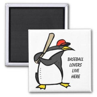 penguin baseball, Baseball loverslive here magnet