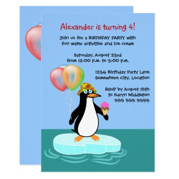 Penguin Fun Birthday Party Card