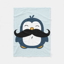 Penguin Mustache Trend Fleece Blanket