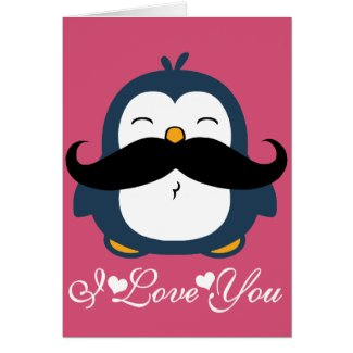 Penguin Mustache Trend I Love You Cards