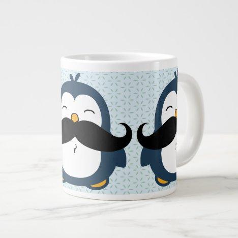 Penguin Mustache Trend Pattern Large Coffee Mug