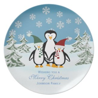 Penguin: Personalized Family: Christmas Plate plate