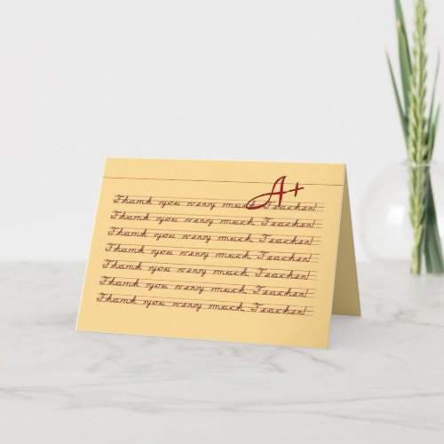 Penmanship Thank You, Teacher zazzle_card