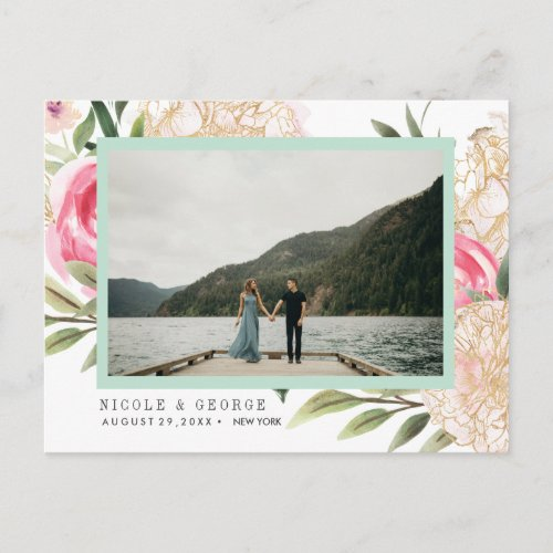 Peony  gold flowers Photo WEDDING SAVE THE DATE Announcement Postcard