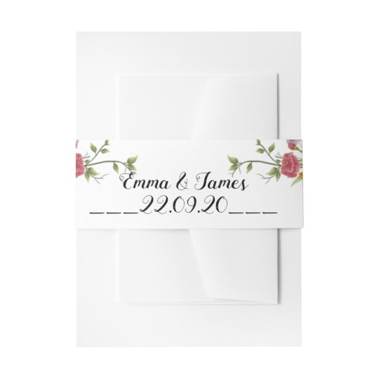 Peony Watercolor Wedding Invitation Belly Bands Band