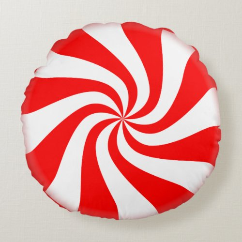 Peppermint Candy Round Holiday Pillow