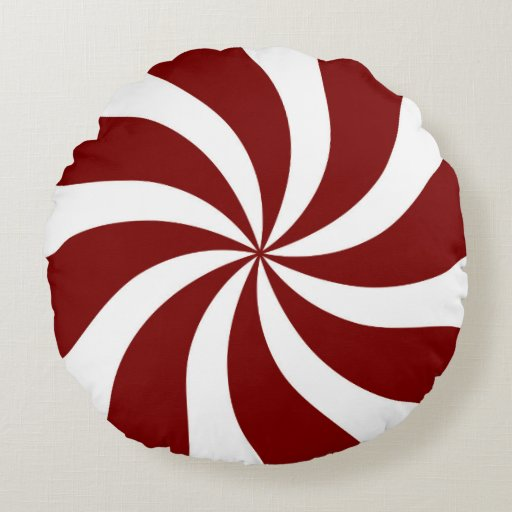 Peppermint Candy Swirl Red and White Round Pillow