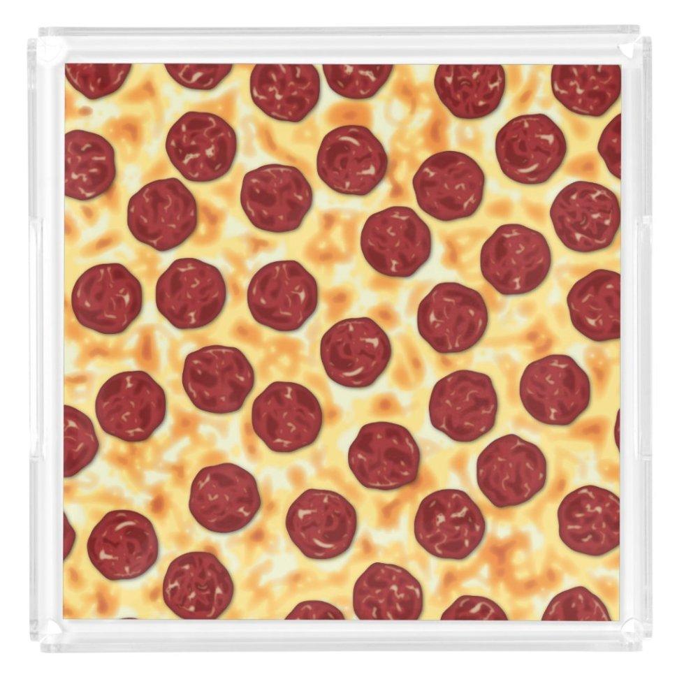 Pepperoni Pizza Pattern Acrylic Tray