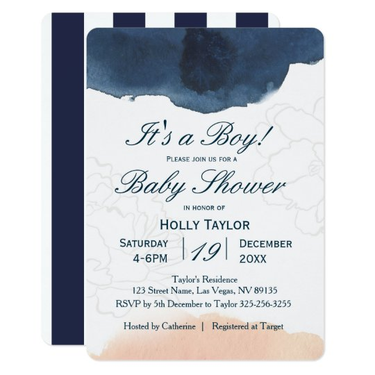 Personalised Navy And Blush Baby Shower Invitation