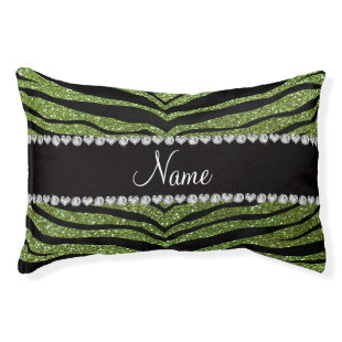 Personalize name bright green glitter tiger strips small dog bed
