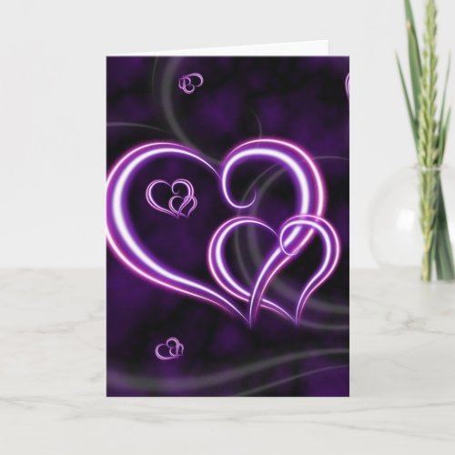 Personalize Purple Hearts Elegant Holiday Card