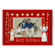 Personalize Vintage Angels Folk Art Photo Frame Greeting Cards