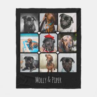 Personalized 9-photo dog fleece blanket