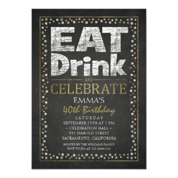 Personalized Adult 40th Birthday Party Invitations
