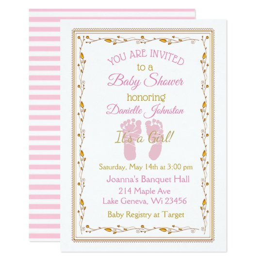 Personalized Baby Pink And Gold Shower Invitation