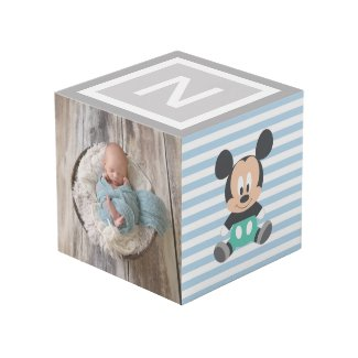 Personalized Baby Mickey and Donald Photo Cube